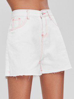 Short En Jean Taille Haute  Et à Surpiqures Contrastantes - Blanc L