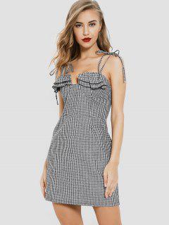 Ruffles Gingham Mini Dress - Black M