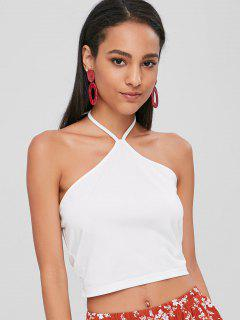 Camiseta Sin Mangas Con Cuello Halter - Blanco M