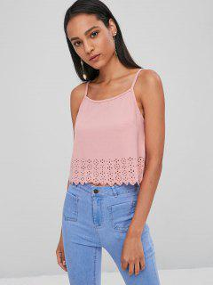 Scalloped Laser Cut Cami Top - Pink Bubblegum M