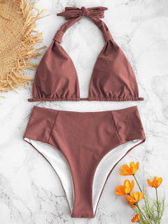 Bikini Taille Haute à Col Halter - Rouge à Lèvres Rose M