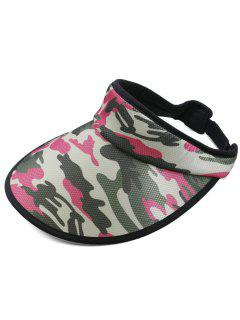 Camouflage Printed Open Top Sun Hat - Rose Red
