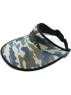 Sombrero Para El Sol Con Tapa Abierta Y Estampado De Camuflaje - Azul