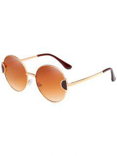 Unique Metal Full Frame Clear Lens Round Sunglasses - Camel Brown