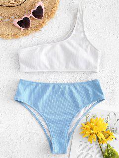 One Shoulder High Waisted Ribbed Bikini - Light Sky Blue L