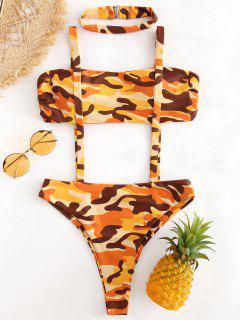 Camo Suspender Two Piece Choker Bikini - Multi S