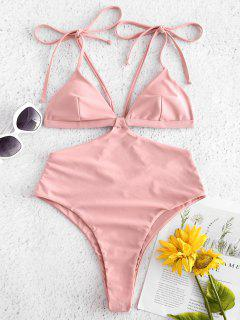 Tie Strap High Cut One Piece Swimsuit - Pink Daisy L