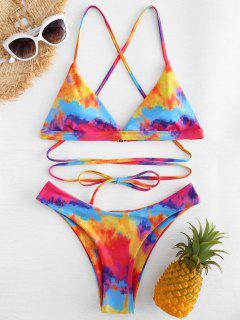 Kreuz Riemchen Gebunden Färbung Bikini - Multi S