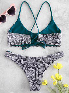 Cross Strap Snake Print Bikini - Black L