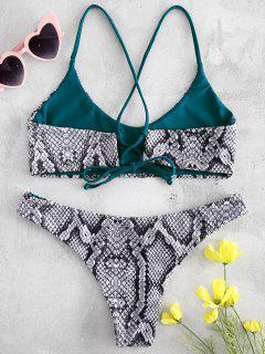 Cross Strap Snake Print Bikini - Black M