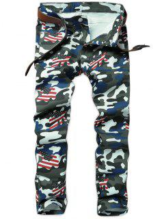 Camo American Flag Inspired Straight Jeans - Acu Camouflage 38
