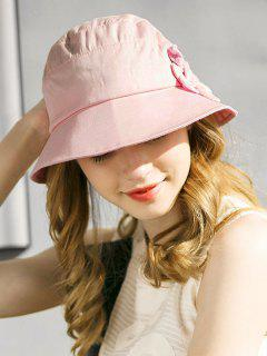 Stylish Floral Wide Brim Foldable Sunscreen Hat - Pink Bubblegum