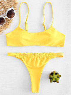 Trapez Riemchen Rücken String Bikini - Niedliches Gummi Gelb M