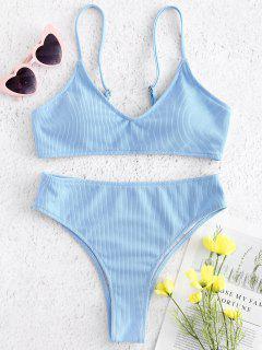 Gerippter, Hoch Taillierter Bikini - Himmelblau L