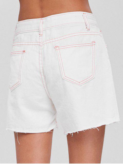 Short en Jean Taille Haute  et à Surpiqures Contrastantes - Blanc L Mobile