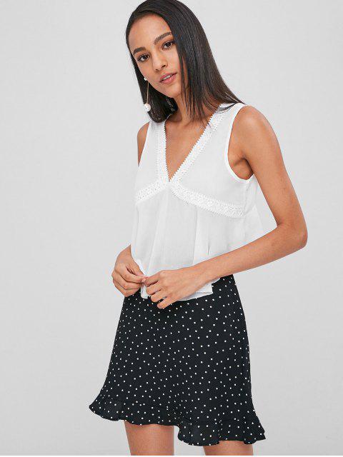 Top sin mangas recortada con crochet - Blanco S Mobile