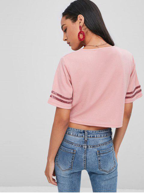 カットアウトの自己タイTシャツ - ピンクデイジー L Mobile