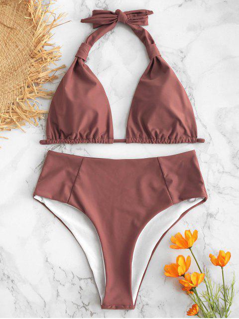 Halter Hoch Taillierte Bikini Bademode - Lippenstift Rosa L Mobile