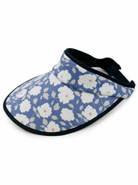 affordable Stylish Flowers Printed Open Top Sun Hat - BLUE  Mobile