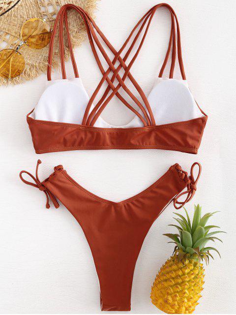 sale Cross Straps High Cut Bikini - CHESTNUT RED L Mobile