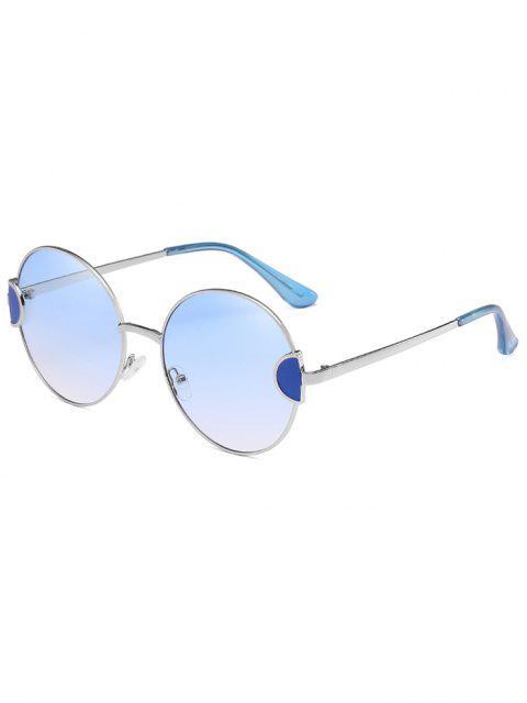 Einzigartige Metall Full Frame klare Linse runde Sonnenbrille - Dunkles Himmelblau  Mobile