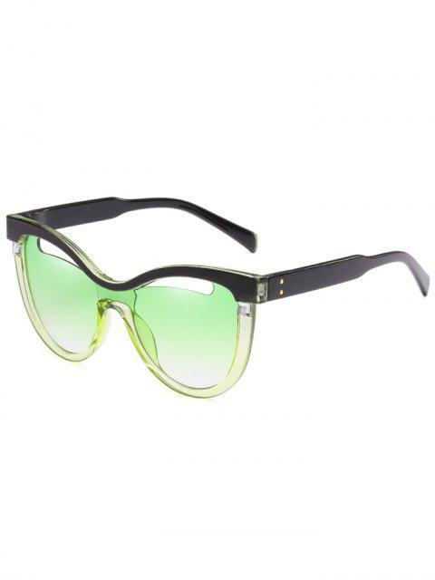 sale Novelty Hollow Out Frame Catty Sunglasses - BLUE GREEN  Mobile