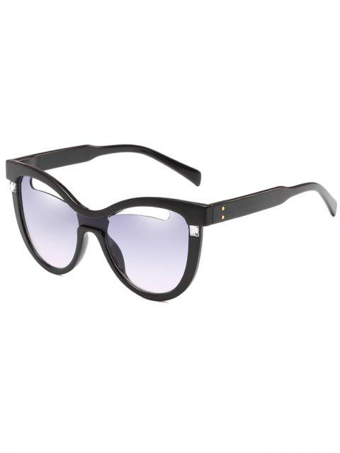 lady Novelty Hollow Out Frame Catty Sunglasses - BLUE GRAY  Mobile