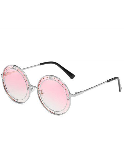 Lunettes Solaires Rondes Anti-Fatigue avec Monture en Métal Style Romain - Rose Léger   Mobile