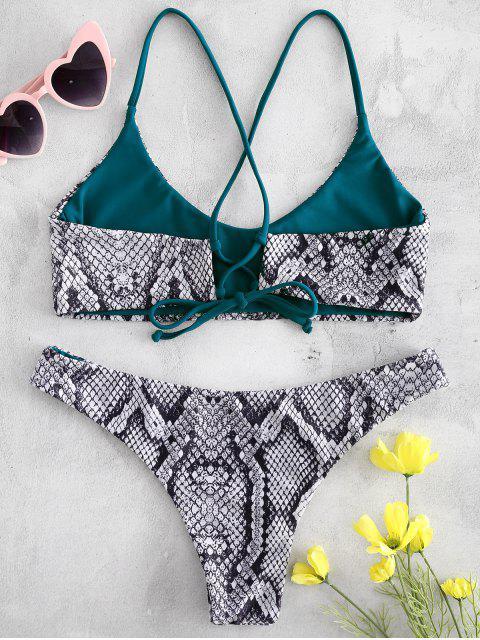 Bikini con estampado de serpiente cruzado - Negro M Mobile