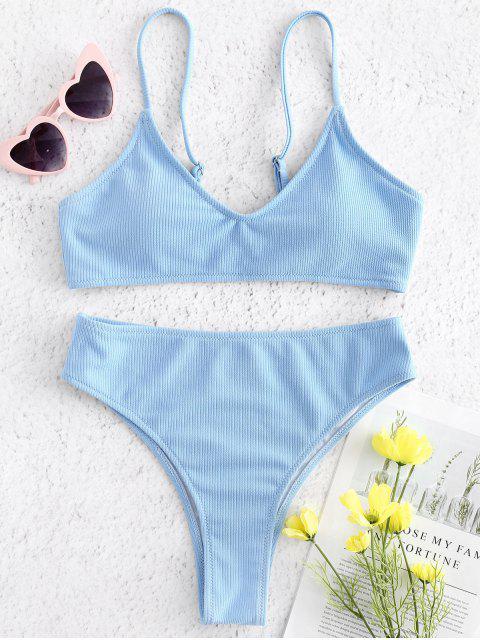 best Ribbed High Waisted Bikini - DAY SKY BLUE L Mobile