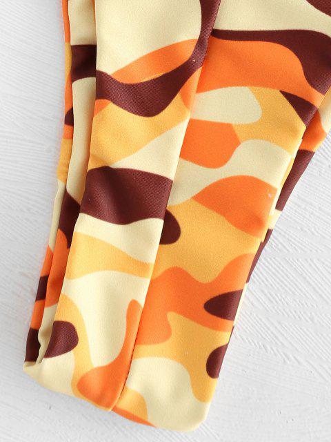 trendy Strapless High Leg Camo Bikini Set - MULTI M Mobile