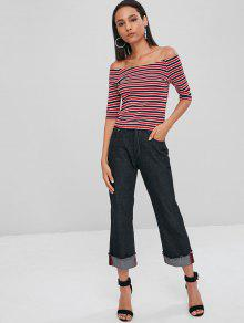 Rojo Cereza Sleeve S Top Stripes Raglan AtxwOqU6Yq