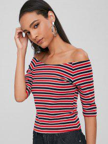 Raglan Top Cereza S Rojo Sleeve Stripes rqCEfrw
