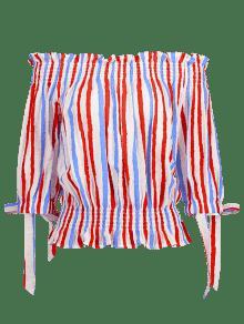 Descubiertos S A Hombros Blusa Multicolor Con Rayas gIpBnxqS