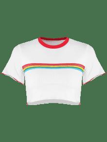 S Cortada Camiseta A Ribetes Blanco Rayas Con pAHw1q