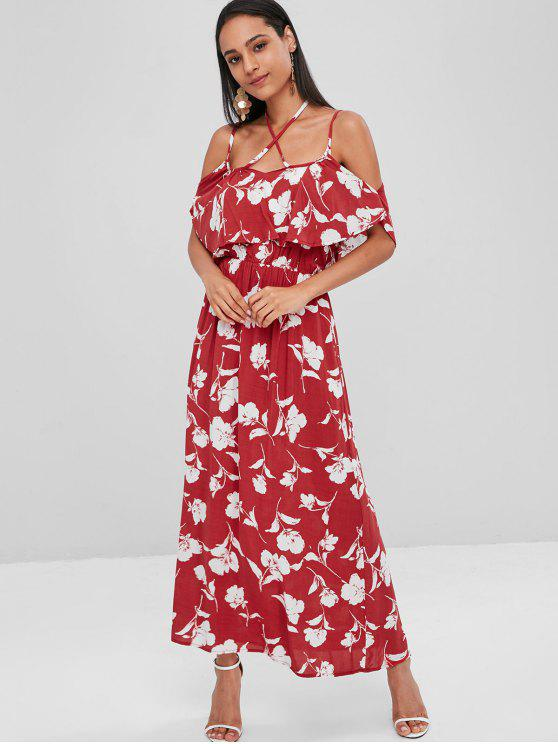 women Floral Ruffle Soft Cold Shoulder Maxi Dress - RED WINE M
