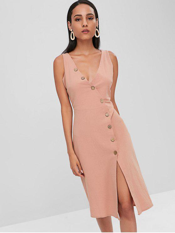 latest Diagonal Button Placket A Line Midi Dress - MISTY ROSE S