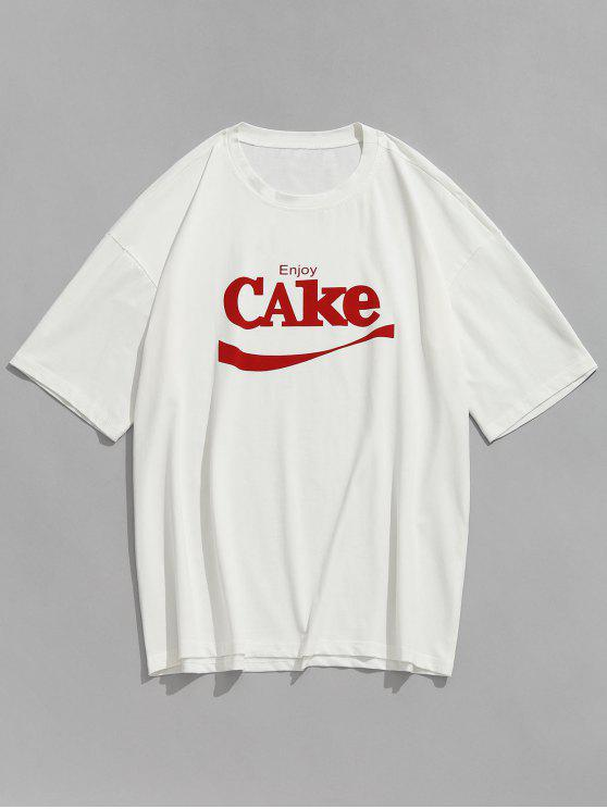 Letras de manga curta Casual T-shirt - Branco S