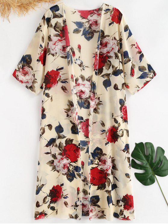 new Floral Print Cover Up - CORNSILK ONE SIZE