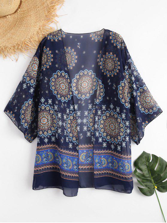 Gedruckter Chiffon Kimono - Kadettenblau Eine Größe