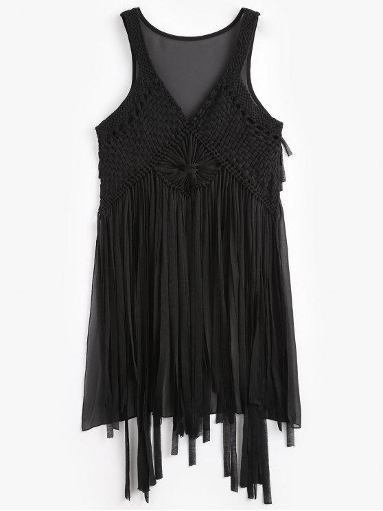 Macrame Fringed Cover Up - Negro Talla única
