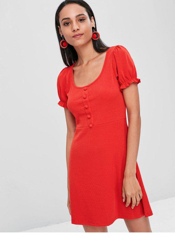 online Ruffle Trim Fit and Flare Dress - RED S