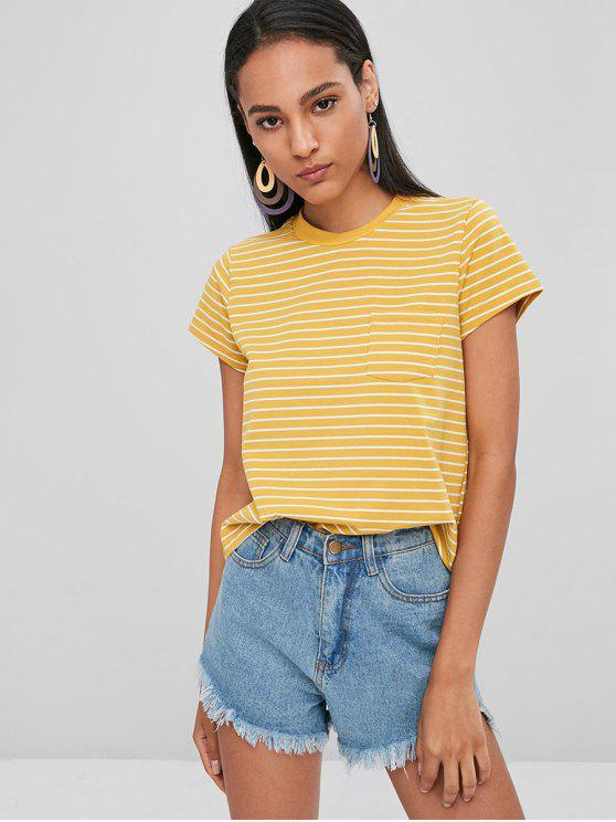 63ac5f32f 16% OFF] 2019 Striped Tee With Pocket In RUBBER DUCKY YELLOW   ZAFUL