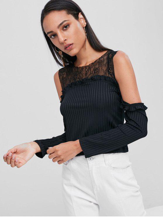 outfit Cold Shoulder Lace Yoke Ribbed T-Shirt - BLACK M