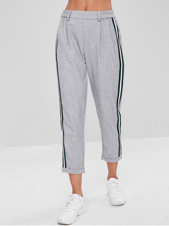 fancy Stripes Patched Rolled Hem Pants - LIGHT GRAY L