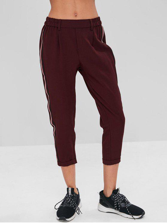 women Stripes Patched Rolled Hem Pants - RED WINE S