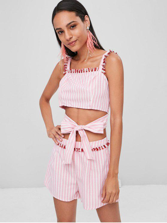 outfits Striped Fringed Top Shorts Matching Set - LIGHT PINK XL