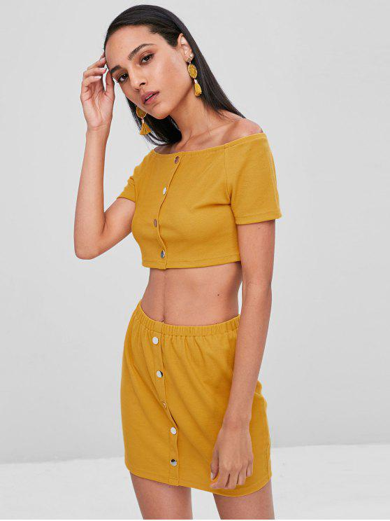 fashion Buttoned Off Shoulder Top and Skirt Set - BEE YELLOW S