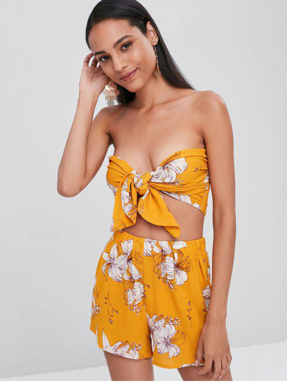 701fd67824490d 22% OFF] 2019 Floral Tie Up Bandeau Top Shorts Co Ord Set In MUSTARD ...