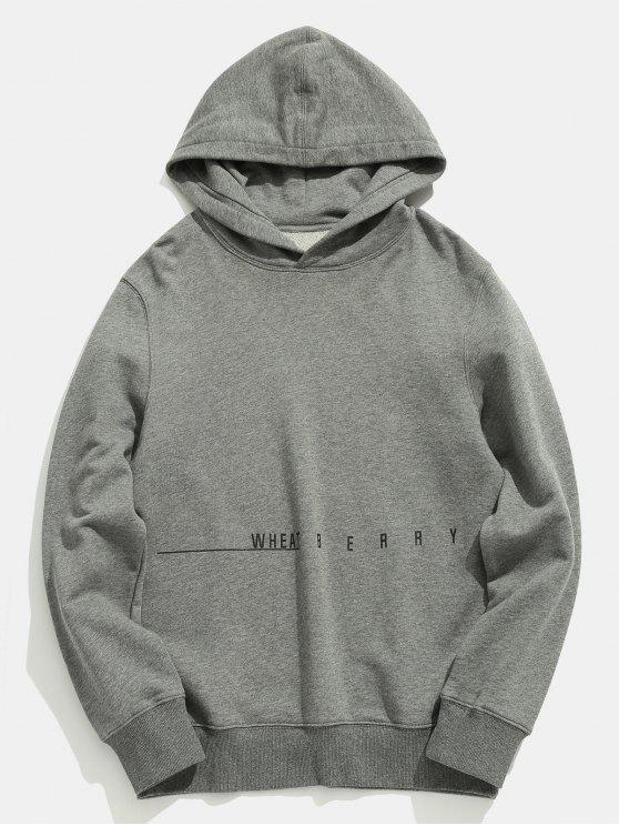 buy Letter Printed Solid Color Casual Hoodie - GRAY CLOUD 2XL